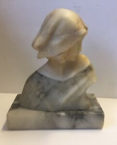 Small Antique Carved Marble Bust Young Girl Marble Base