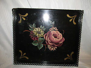 Antique Old Toleware Shabby Tole Painted Tin Metal Chic Square