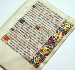 Medieval Illuminated Manuscript Book Of Hours Leaf 1470 Gold Borders St Nicholas