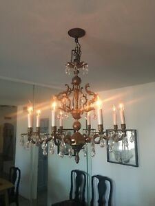 Antique Vintage Candelabra Chandelier 8 Light Crystal Brass Dimmable