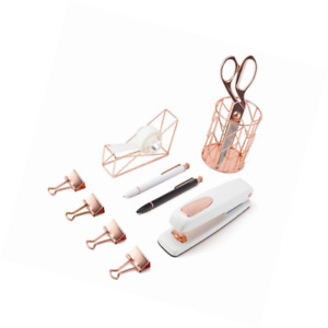 U Brands Desktop Accessory Kit Office Supplies Set Rose Gold 10 piece