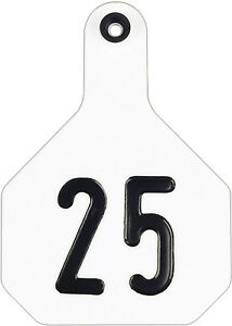 Y tex 4 Star Large Cattle Ear Tags White Numbered 101 125