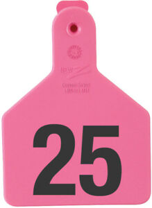 Z Tags Calf Ear Tags Pink Numbered 176 200