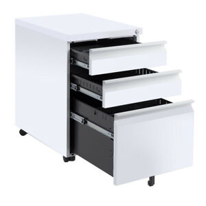 White 3 Drawers Rolling Mobile A4 F4 File Pedestal Storage Cabinet Steel Office