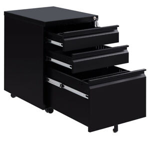 Black 3 Drawers Rolling Mobile A4 F4 File Pedestal Storage Cabinet Steel Office
