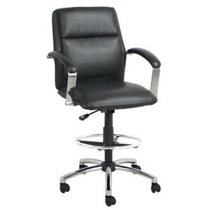 Black Bonded Leather Office Drafting Stool Chair Contemporary And Comfortable