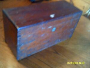 Antique Vintage Wood Box Dovetail Construction Lock Hinged 14 1 4 X 5 1 2