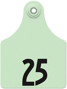 Allflex Global Maxi Numbered Cattle Ear Tags Green 26 50