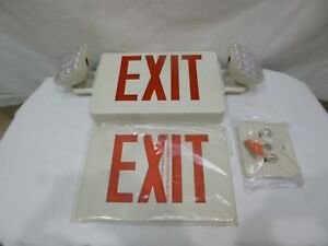 New Open Box lithonia Ltg Ecr Led M6 Exit Lighting Combo red Letters white
