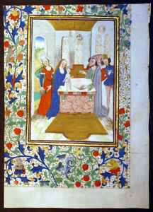Illuminated Manuscript Book Of Hours Leaf C 1460 Presentation In The Temple