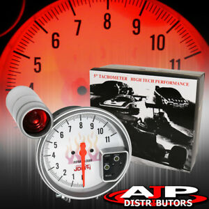 5 White Face Tachometer 11k Rpm Tach Gauge With Red Shift Light Supra Mr2 Celica