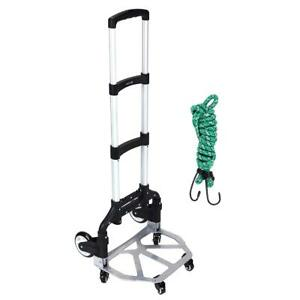 Foldable Height Adjustable Hand Truck Portable 165 Lb Capacity Aluminum Carts