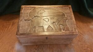 Handcrafted Wooden Trinket Box With Two Carved Elephants Dims 12 X 8 X 6