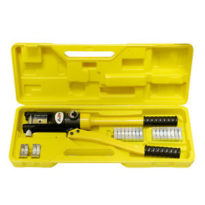 closeout Abn Hydraulic Crimper 16 Ton Cable Crimping Tool With 11 Crimp Dies