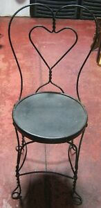 Vintage Antique Ice Cream Parlor Chair Wrought Iron Loop Heart Back