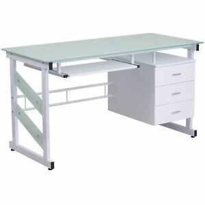 Esh White Powder coated Glass top Computer Desk With Three drawer Pedestal