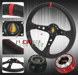 Prelude Accord Deep Dish Red Stitch Steering Wheel Hub Adapter Quick Release
