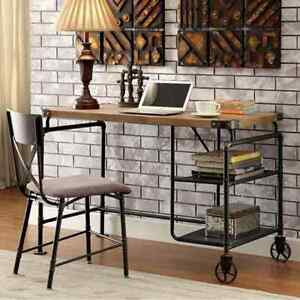 Industrial Metal Writing Desk With Wooden Top brown And Black