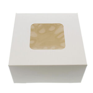 Spec101 Easy Popup White Bakery Boxes With Window 6x6x3 Inch Cake Boxes