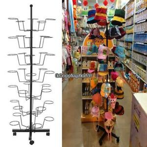 Fashion Hat Cap Display Retail Rotating Adjustable Metal Stand Hanger Rack