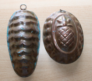 2 Probably Older Baking Moulds Copper Antique Pinecone And Pineapple Oval