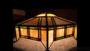 Antique Arts Crafts Stained Glass Lamp Shade Light Fixture