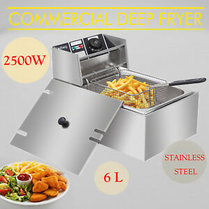 6 Liter Stainless Steel Commercial Countertop Electric Deep Fryer Machine 110v