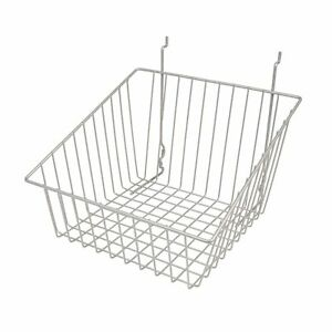 Econoco s Chrome Sloped front Metal Wire Basket For Slatwall Pegboard Or
