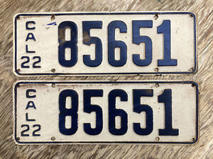 1922 California License Plate Pair 85651 Yom Dmv Clear Ford Model T Chevy
