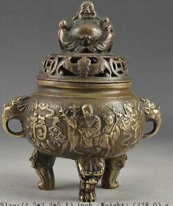 Exquisite Old Chinese Brass Hand Hammered Buddha Exorcist Incense Burner Rt