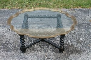 Mid Century Stunning Brass Carved Wood Glass Coffee Tray Table