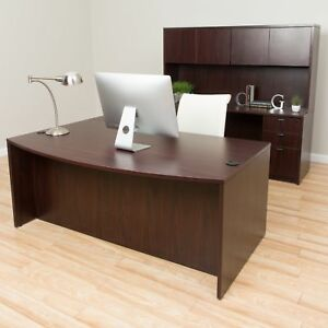 Boss Bow front Workstation Desk With Hutch