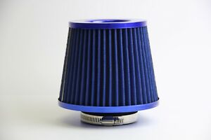 3 Inch Universal Chrome Short Ram Cold Intake Round Cone Air Filter Blue Kn Type