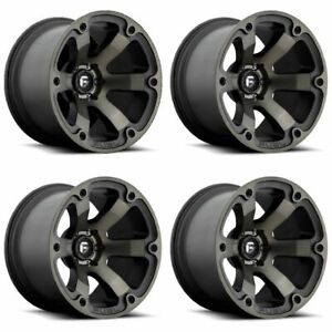 Set 4 16 Fuel Beast D564 Black Machined Dark Tint Rims 6x5 5 01mm Lifted Truck