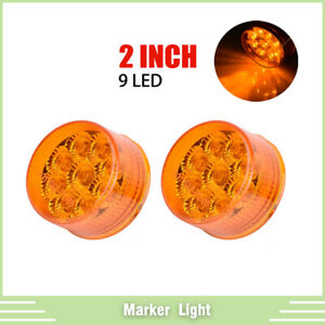 2pcs 2 Inch Amber 9 Led Round Clearance Side Marker Lights Truck Trailer Lamp