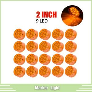 20pcs 2 Inch Amber 9 Led Round Clearance Side Marker Lights Truck Trailer Lamp