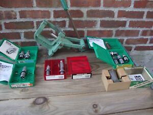RCBS Rock Chucker Reloading Press With A Bunch Of Assorted Dies Reloading Lot