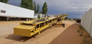 Unused Cec 60 X 36 Portable Folding Radial Stacker Conveyor Belt W scale 2400