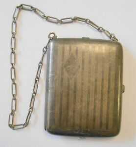 Vintage Sterling Silver Ladies Dance Coin Purse W 925 Chain Multi Compartment