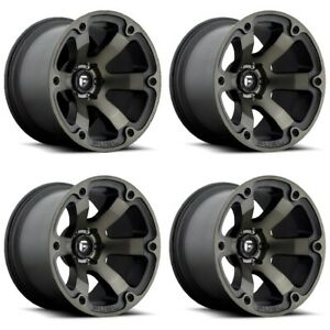 Set 4 18 Fuel Beast D564 Black Machined Dark Tint Wheels 18x9 5x5 01mm Truck