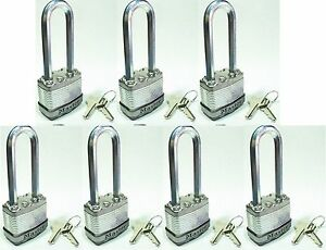 Lock Set By Master M1kalj lot Of 7 Keyed Alike Long Carbide Shackle Magnum