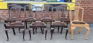Set 8 Antique Mahogany Sheraton Style Dining Chairs As Is Where Is Needs Tlc