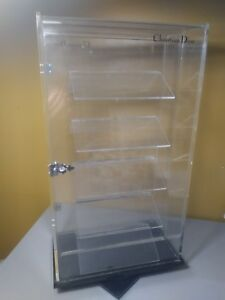 Clear Acrylic Display Case Rotating Counter Top Locking Jewelry Christian Dior
