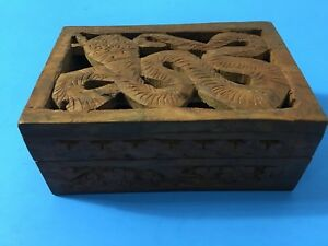 Hand Carved Wood Trinket Box With Serpent Carving And Red Felt Made In India