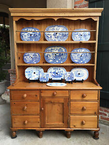 Antique English Pine Welsh Dresser Kitchen Hutch Sideboard Farmhouse Cupboard