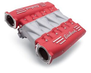 7141 Edelbrock Manifold Chevy Ls Ls3 Cross Ram W Red Plenums