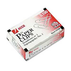 Acco Smooth Economy Paper Clips Steel Wire No 1 50 Boxes Of 100