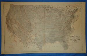 Vintage 1876 Climatological Map Of The United States Old Antique Original Map