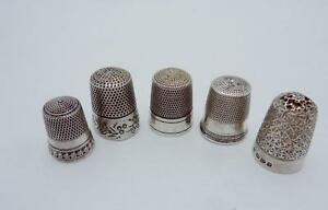 Antique Sterling Silver Thimbles Set Of 5 English Simon Bros Ketcham 24266
