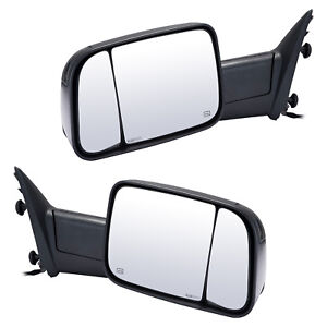 Pair Towing Mirrors For 2009 2015 Dodge Ram 1500 2500 3500 Power Heated Signal